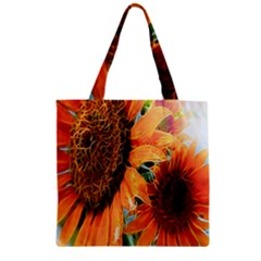 Sunflower Art  Artistic Effect Background Zipper Grocery Tote Bag by BangZart