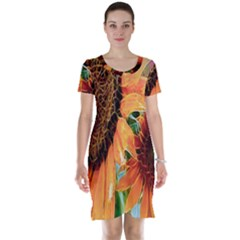 Sunflower Art  Artistic Effect Background Short Sleeve Nightdress
