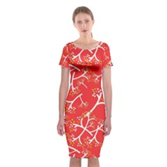 Small Flowers Pattern Floral Seamless Pattern Vector Classic Short Sleeve Midi Dress