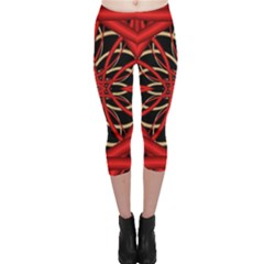 Fractal Wallpaper With Red Tangled Wires Capri Leggings