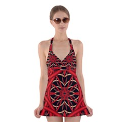 Fractal Wallpaper With Red Tangled Wires Halter Swimsuit Dress