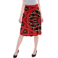 Fractal Wallpaper With Red Tangled Wires Midi Beach Skirt
