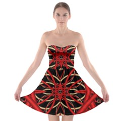 Fractal Wallpaper With Red Tangled Wires Strapless Bra Top Dress