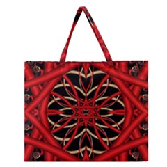 Fractal Wallpaper With Red Tangled Wires Zipper Large Tote Bag by BangZart