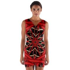 Fractal Wallpaper With Red Tangled Wires Wrap Front Bodycon Dress