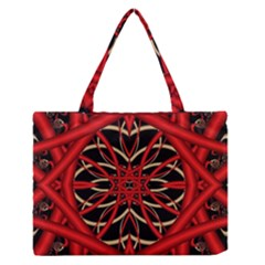 Fractal Wallpaper With Red Tangled Wires Medium Zipper Tote Bag
