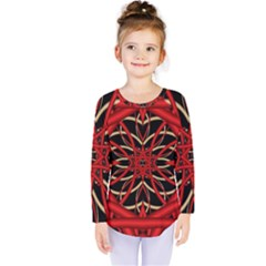 Fractal Wallpaper With Red Tangled Wires Kids  Long Sleeve Tee