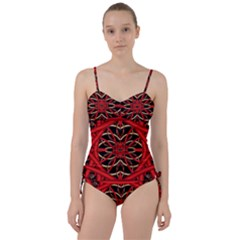 Fractal Wallpaper With Red Tangled Wires Sweetheart Tankini Set