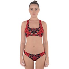 Fractal Wallpaper With Red Tangled Wires Cross Back Hipster Bikini Set