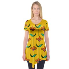 Small Flowers Pattern Floral Seamless Pattern Vector Short Sleeve Tunic