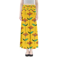 Small Flowers Pattern Floral Seamless Pattern Vector Full Length Maxi Skirt