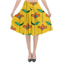 Small Flowers Pattern Floral Seamless Pattern Vector Flared Midi Skirt by BangZart