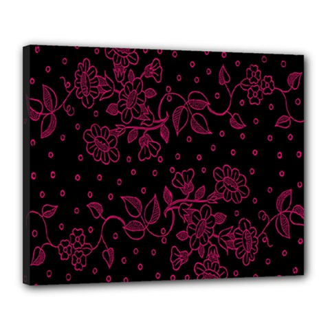 Pink Floral Pattern Background Wallpaper Canvas 20  X 16  by BangZart