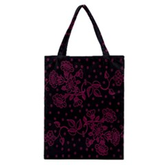 Pink Floral Pattern Background Wallpaper Classic Tote Bag by BangZart