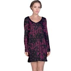 Pink Floral Pattern Background Wallpaper Long Sleeve Nightdress