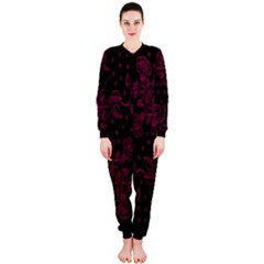 Pink Floral Pattern Background Wallpaper Onepiece Jumpsuit (ladies)