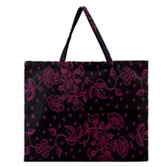 Pink Floral Pattern Background Wallpaper Zipper Large Tote Bag by BangZart