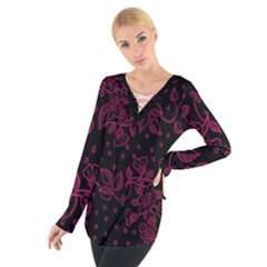 Pink Floral Pattern Background Wallpaper Tie Up Tee