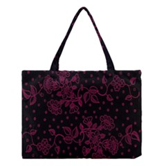 Pink Floral Pattern Background Wallpaper Medium Tote Bag by BangZart