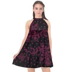 Pink Floral Pattern Background Wallpaper Halter Neckline Chiffon Dress