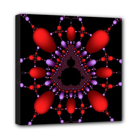 Fractal Red Violet Symmetric Spheres On Black Mini Canvas 8  X 8  by BangZart