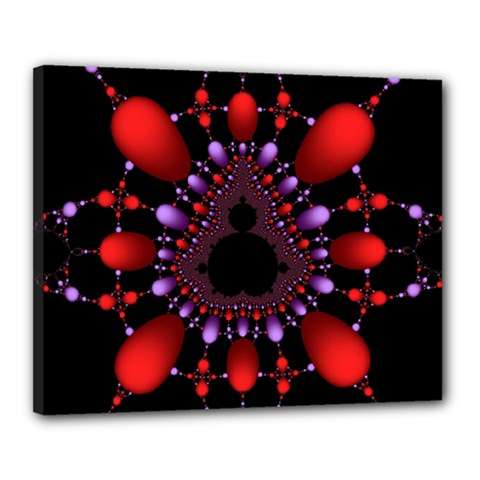 Fractal Red Violet Symmetric Spheres On Black Canvas 20  X 16
