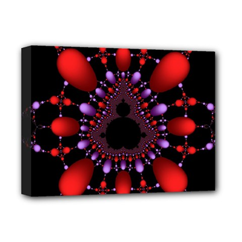 Fractal Red Violet Symmetric Spheres On Black Deluxe Canvas 16  X 12   by BangZart