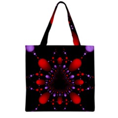 Fractal Red Violet Symmetric Spheres On Black Grocery Tote Bag by BangZart