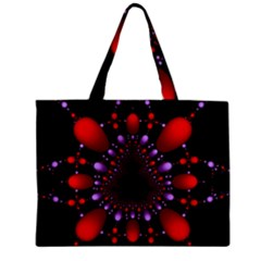 Fractal Red Violet Symmetric Spheres On Black Zipper Mini Tote Bag by BangZart