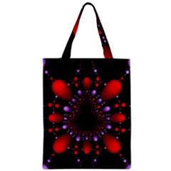Fractal Red Violet Symmetric Spheres On Black Zipper Classic Tote Bag