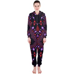Fractal Red Violet Symmetric Spheres On Black Hooded Jumpsuit (ladies)