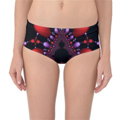 Fractal Red Violet Symmetric Spheres On Black Mid Waist Bikini Bottoms