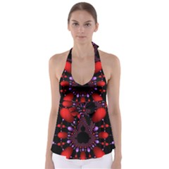 Fractal Red Violet Symmetric Spheres On Black Babydoll Tankini Top