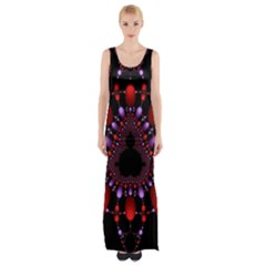Fractal Red Violet Symmetric Spheres On Black Maxi Thigh Split Dress