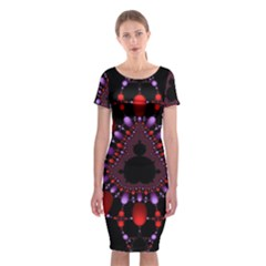 Fractal Red Violet Symmetric Spheres On Black Classic Short Sleeve Midi Dress