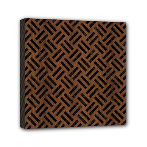 Woven2 Black Marble & Brown Wood (r) Mini Canvas 6  X 6  (stretched) by trendistuff