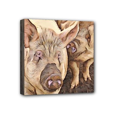 Happy Pigs Mini Canvas 4  X 4  by DeneWestUK