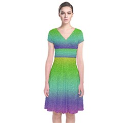 Metallic Rainbow Glitter Texture Short Sleeve Front Wrap Dress