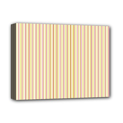 Stripes Pink And Green  Line Pattern Deluxe Canvas 16  X 12   by paulaoliveiradesign