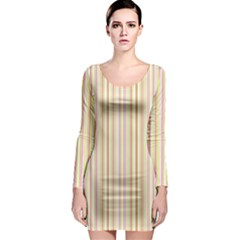 Stripes Pink And Green  Line Pattern Long Sleeve Bodycon Dress by paulaoliveiradesign