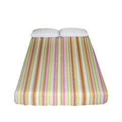 Stripes Pink And Green  Line Pattern Fitted Sheet (full/ Double Size) by paulaoliveiradesign