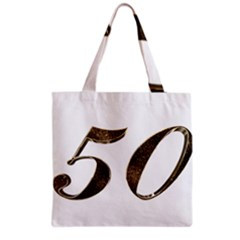 Number 50 Elegant Gold Glitter Look Typography Grocery Tote Bag by yoursparklingshop