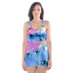 Tulips Flower Pattern Skater Dress Swimsuit