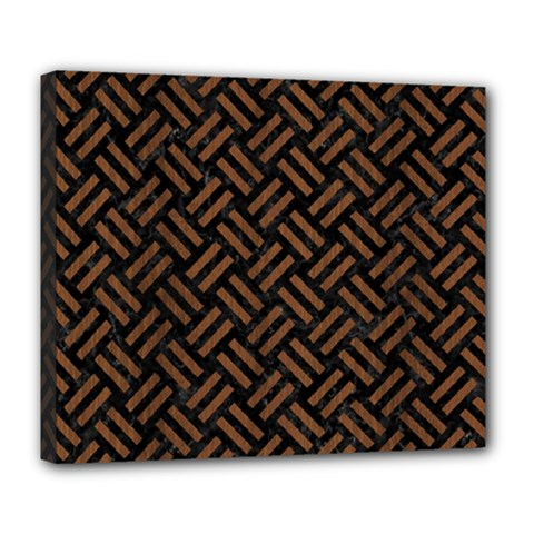 Woven2 Black Marble & Brown Wood Deluxe Canvas 24  X 20  (stretched) by trendistuff
