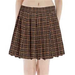 Woven1 Black Marble & Brown Wood (r) Pleated Mini Skirt by trendistuff