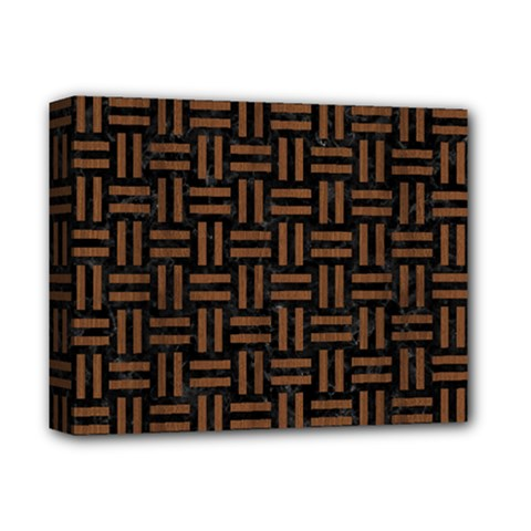 Woven1 Black Marble & Brown Wood Deluxe Canvas 14  X 11  (stretched) by trendistuff