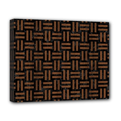 Woven1 Black Marble & Brown Wood Deluxe Canvas 20  X 16  (stretched) by trendistuff
