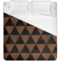 Triangle3 Black Marble & Brown Wood Duvet Cover (king Size)