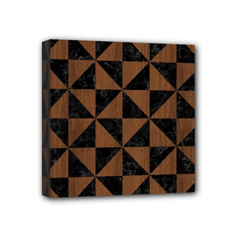 Triangle1 Black Marble & Brown Wood Mini Canvas 4  X 4  (stretched) by trendistuff