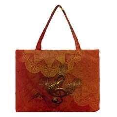 Golden Clef On Vintage Background Medium Tote Bag by FantasyWorld7